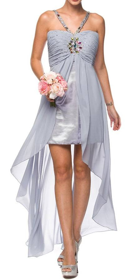 Silver High Low Gown V Strap Ruched Detail Rhinestone Sheer Skirt