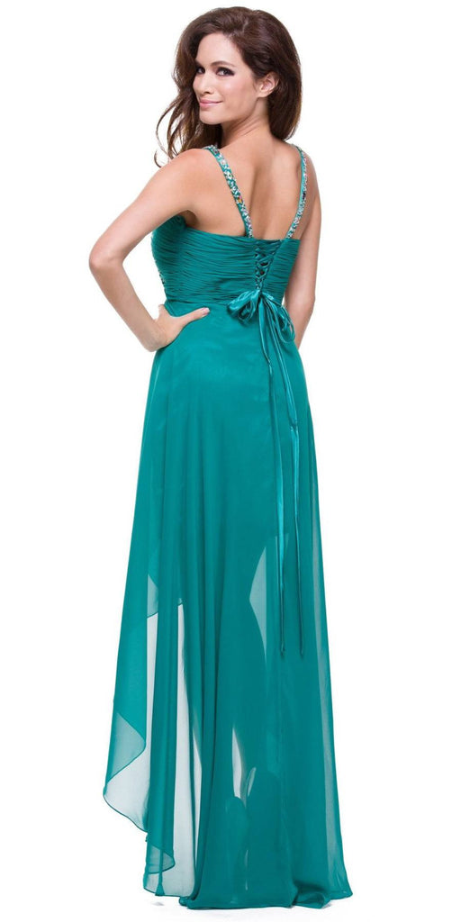 Teal High Low Gown V Strap Ruched Detail Rhinestone Sheer Skirt Back