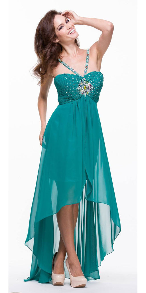 Teal High Low Gown V Strap Ruched Detail Rhinestone Sheer Skirt