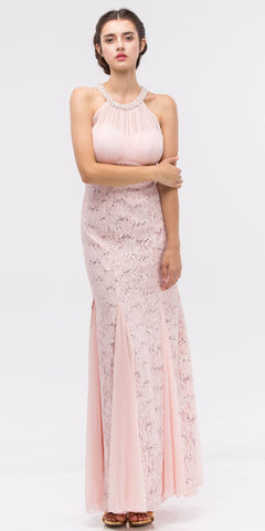 Mermaid Flair Skirt Lace Evening Gown Blush Pearl Necklace