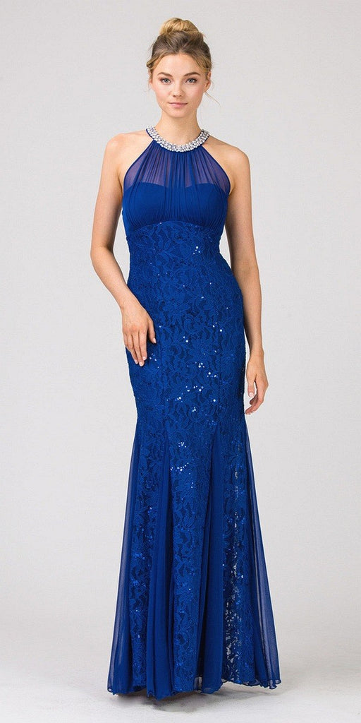 Eureka Fashion 5030 Mermaid Flair Skirt Lace Evening Gown Royal Blue Pearl Necklace