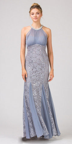 Eureka Fashion 5030 Mermaid Flair Skirt Lace Evening Gown Silver Pearl Necklace