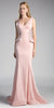 Embroidered V-Neck Long Mermaid Prom Dress Blush