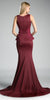 Embroidered V-Neck Long Mermaid Prom Dress Burgundy