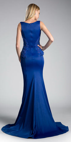 Embroidered V-Neck Long Mermaid Prom Dress Royal Blue