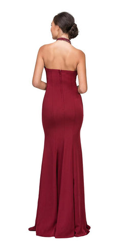 Burgundy Mermaid Prom Gown with Beaded Choker-Collar