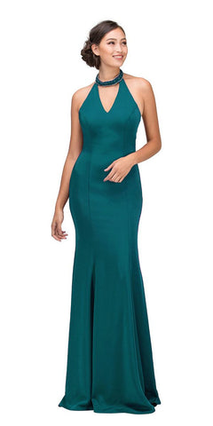 Hunter Green Mermaid Prom Gown with Beaded Choker-Collar