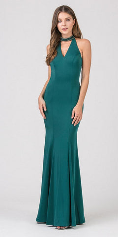 Eureka Fashion 5033 Hunter Green Mermaid Prom Gown with Beaded Choker-Collar