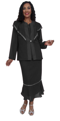 Hosanna 5034 Plus Size 3 Piece Set Black Ankle Length Dress