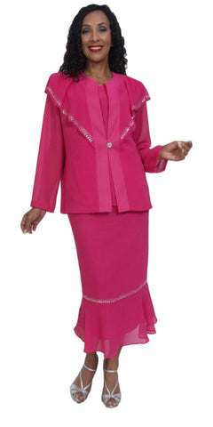 Hosanna 5034 Plus Size 3 Piece Set Fuchsia Ankle Length Dress