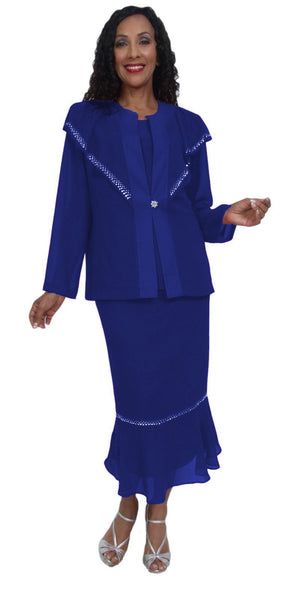 Hosanna 5034 Plus Size 3 Piece Set Royal Blue Ankle Length Dress
