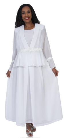 Hosanna 5039 White Plus Size 3 PC Dress Set Tea Length Jacket Top