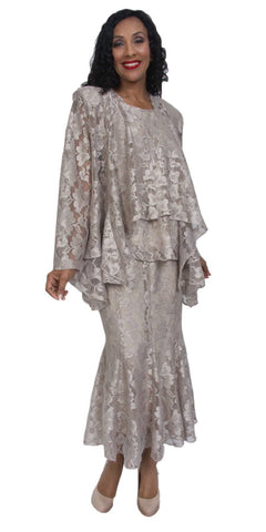 Hosanna 5040 Plus Size Lace 3 Piece Set Taupe Tea Length Dress