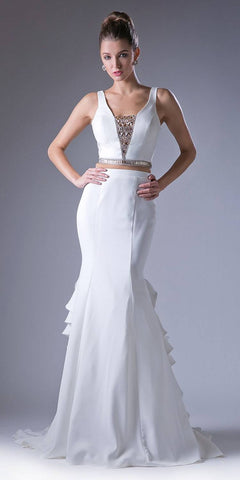 Ivory Two-Piece Mermaid Beaded Prom Gown