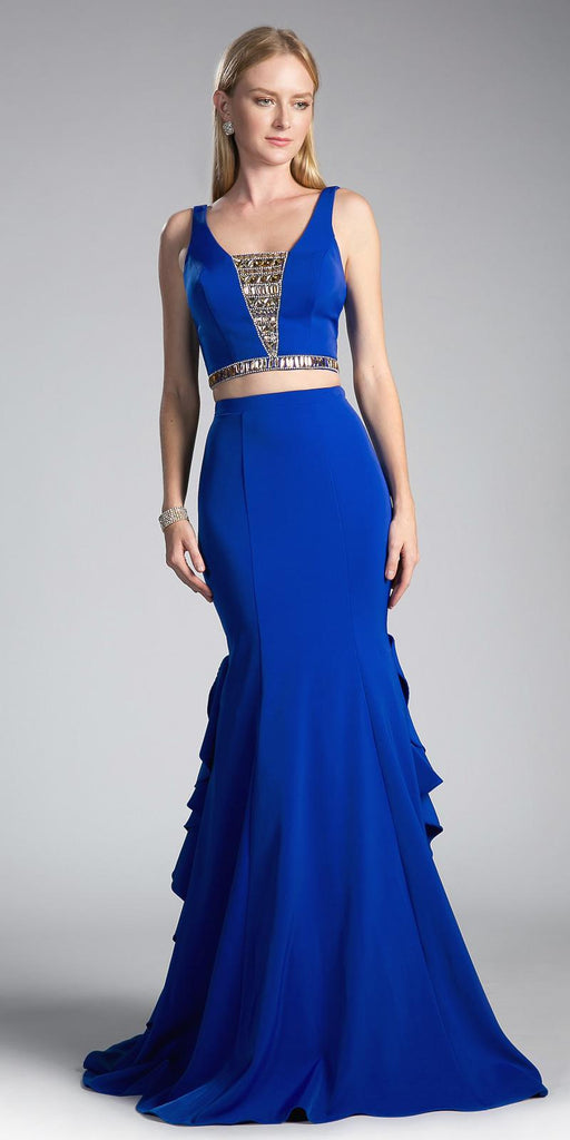 Royal Blue Two-Piece Mermaid Beaded Prom Gown