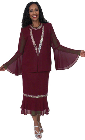 Hosanna 5044 Burgundy Plus Size 3 PC Set Dress Modest Tea Length Jacket Top