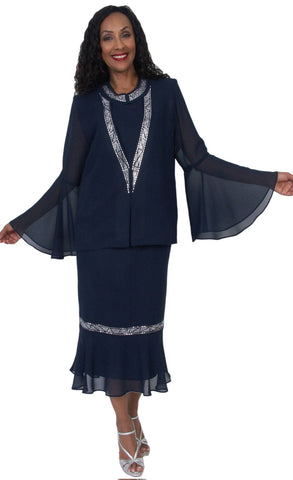 Hosanna 5044 Navy Blue Plus Size 3 PC Set Dress Modest Tea Length Jacket Top
