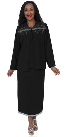 Hosanna 5046 Plus Size 3 Piece Set Black Tea Length Dress