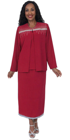 Hosanna 5046 Plus Size 3 Piece Set Red Tea Length Dress