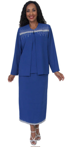 Hosanna 5046 Plus Size 3 Piece Set Royal Blue Tea Length Dress