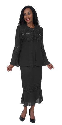 Hosanna 5049 Plus Size 3 Piece Set Black Tea Length Dress