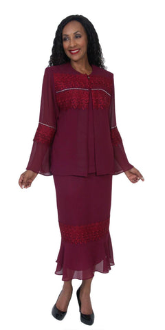Hosanna 5049 Plus Size 3 Piece Set Burgundy Tea Length Dress