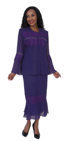 Hosanna 5049 Plus Size 3 Piece Set Purple Tea Length Dress