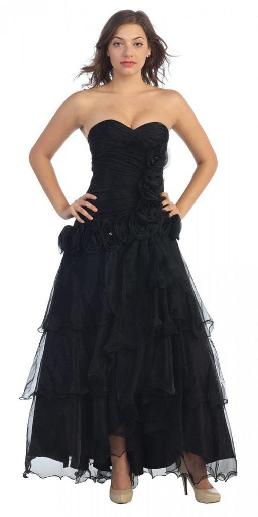 Black Strapless Tiered High and Low Formal Dress