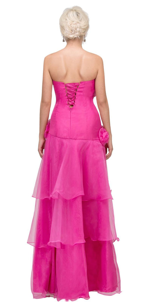 Fuchsia Strapless Tiered High and Low Formal Dress