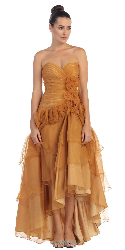 Dark Gold Strapless Tiered High and Low Formal Dress