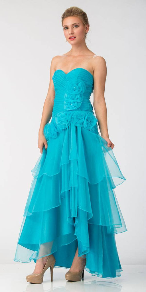 Turquoise Strapless Tiered High and Low Formal Dress
