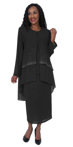Hosanna 5050 Black Plus Size 3 PC Set Semi Formal Dress Tea Length Jacket Top
