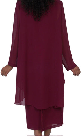 Hosanna 5050 Burgundy Plus Size 3 PC Set Semi Formal Dress Tea Length Jacket Top Back View