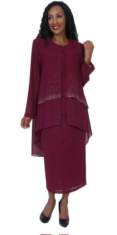 Hosanna 5050 Burgundy Plus Size 3 PC Set Semi Formal Dress Tea Length Jacket Top