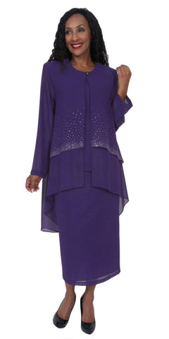 Hosanna 5050 Purple Plus Size 3 PC Set Semi Formal Dress Tea Length Jacket Top