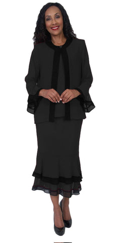 Hosanna 5053 Plus Size 3 Piece Set Black Tea Length Dress