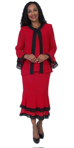 Hosanna 5053 Plus Size 3 Piece Set Red Tea Length Dress