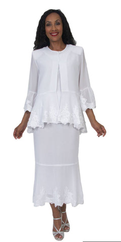 Hosanna 5054 Tea Length Plus Size White Dress 3 Piece Set