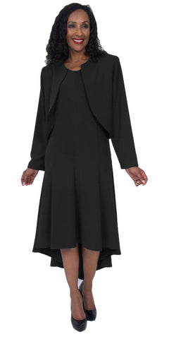 Hosanna 5057 Black Plus Size 2 PC Set Dress Modest Tea Length Jacket Top