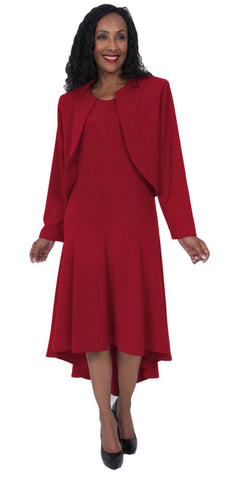 Hosanna 5057 Red Plus Size 2 PC Set Dress Modest Tea Length Jacket Top