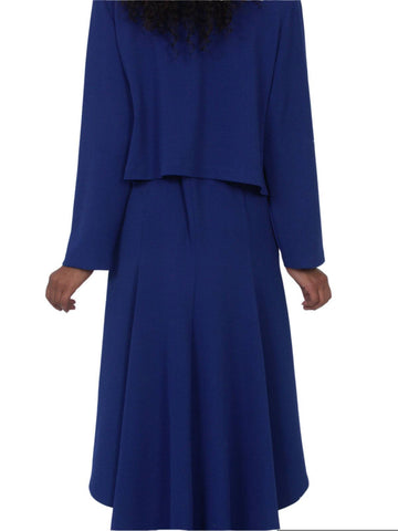 Hosanna 5057 Royal Blue Plus Size 2 PC Set Dress Modest Tea Length Jacket Top Back View