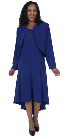Hosanna 5057 Royal Blue Plus Size 2 PC Set Dress Modest Tea Length Jacket Top