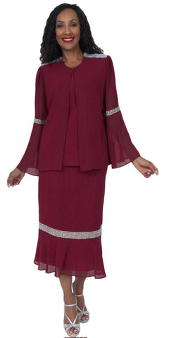 Hosanna 5059 Plus Size 3 Piece Set Burgundy Tea Length Dress