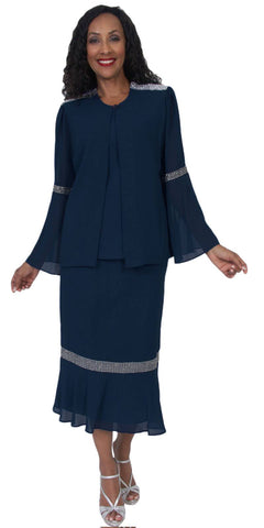 Hosanna 5059 Plus Size 3 Piece Set Navy Blue Tea Length Dress