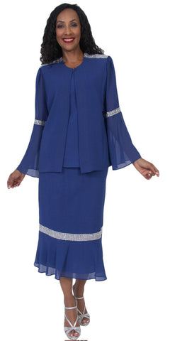 Hosanna 5059 Plus Size 3 Piece Set Royal Blue Tea Length Dress