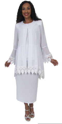 Hosanna 5060 Plus Size 3 Piece Set White Tea Length Dress