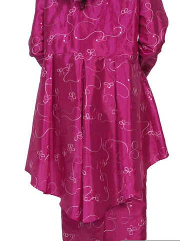Hosanna 5061 Plus Size 3 Piece Set Fuchsia Tea Length Dress Back View