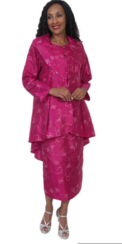 Hosanna 5061 Plus Size 3 Piece Set Fuchsia Tea Length Dress