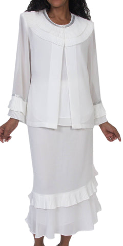 Hosanna 5064 Plus Size 3 Piece Set White Tea Length Dress - Zoom