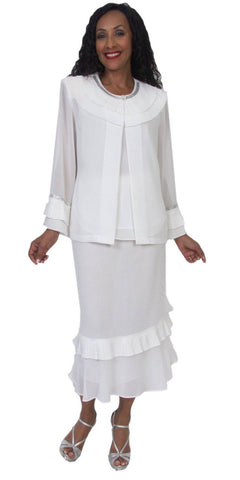 Hosanna 5064 Plus Size 3 Piece Set White Tea Length Dress